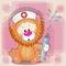 Stock Image : Lion nurse