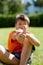 Stock Image : Little boy thumbs up