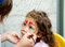 Stock Image : Little Girl Getting Her Face Painted