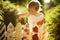 Stock Image : Little girl paints fence