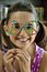 Stock Image : Little Girl with Peace Glasses