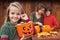 Stock Image : Little girl preparing for the Halloween night
