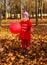 Stock Image : Little girl walks in autumn park