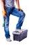 Stock Image :  Mężczyzna stawia jego stopę na toolbox