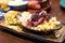 Stock Image :  MAC en kaas met het bovenste laagje van het barbecuevlees