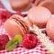 Stock Image : Macaroons, raspberries