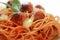 Stock Image : Macro spaghetti and Meatballs