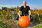 Stock Image : Man with big pumpkin