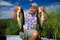 Stock Image : Man Fishing Largemouth Bass