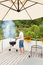Stock Image : Man is lighting the fire for bbq