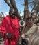 Stock Image : A Masai chief, at a masai market place, Tanzania.
