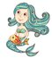 Stock Image : Mermaid with fish  on white
