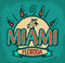 Stock Image : Miami Florida - vector badge - emblem - summer tropical icon