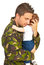 Stock Image : Military father embracing his baby son