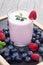 Stock Image : Milkshake with fresh berries