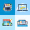 Stock Image : Modern flat vector concepts of responsive web design. Icons set