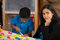 Stock Image : Mom and Child in Home School Setting