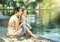 Stock Image : Mom with son looking at the lake