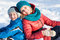 Stock Image : Mother and child  in snow