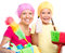 Stock Image : Mother and her daughter are dressed for cleaning