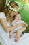 Stock Image : Mother kissing baby girl outdoor