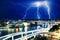 Stock Image : Multiple electric lightning strikes over river in Brisbane