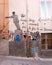 Stock Image :  Muurschildering van saddam hussein Standbeeld