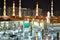 Stock Image : Nabawi Meczet w Medina przy noc zakończeniem zakończenie