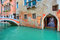 Stock Image : Narrow canal along old brick houses. Venice, Italy.