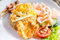 Stock Image : Nasi Goreng with prawn crackers and chicken satay