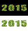 Stock Image : New Year 2015 is lined with green leaves.  Isolated