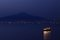 Stock Image : Nightime view of Vesuvius, from Sorrento, Italy