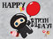 Stock Image : Ninja шаржа поздравительой открытки ко дню рождения милое счастливое