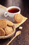 Stock Image : Oatmeal cookie and cup of tea
