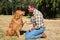 Stock Image : Obedience Training Golden Retriever