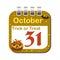 Stock Image : October thirty one calendar sheet