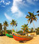 Stock Image : Old fishing boats on beach in india