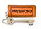 Stock Image : Old key with password leather tag