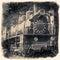 Stock Image : Old locomotive in retro black and white design