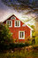 Stock Image : Old red wooden house, Sweden