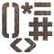 Stock Image : Old rusty metal english alphabet, numbers and signs