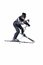 Stock Image : One male skier skiing with full equipment on a white background