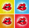 Stock Image : Open Sexy wet  red lips with teeth pop art set backgrounds