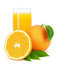 Stock Image : Orange juice and oranges with leaves.