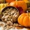 Stock Image : Orange Pumpkins With Toasted Pumpkin Seeds