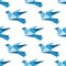 Stock Image : Origami pigeons and doves seamless pattern