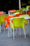 Stock Image : Outdoor furniture of a restaurant or a cafeteria