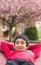 Stock Image : Outdoor Portrait of a Little Boy in a Hammock