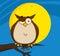 Stock Image : Owl Cartoon On Tree In The Night