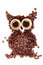 Owl made from coffee beans